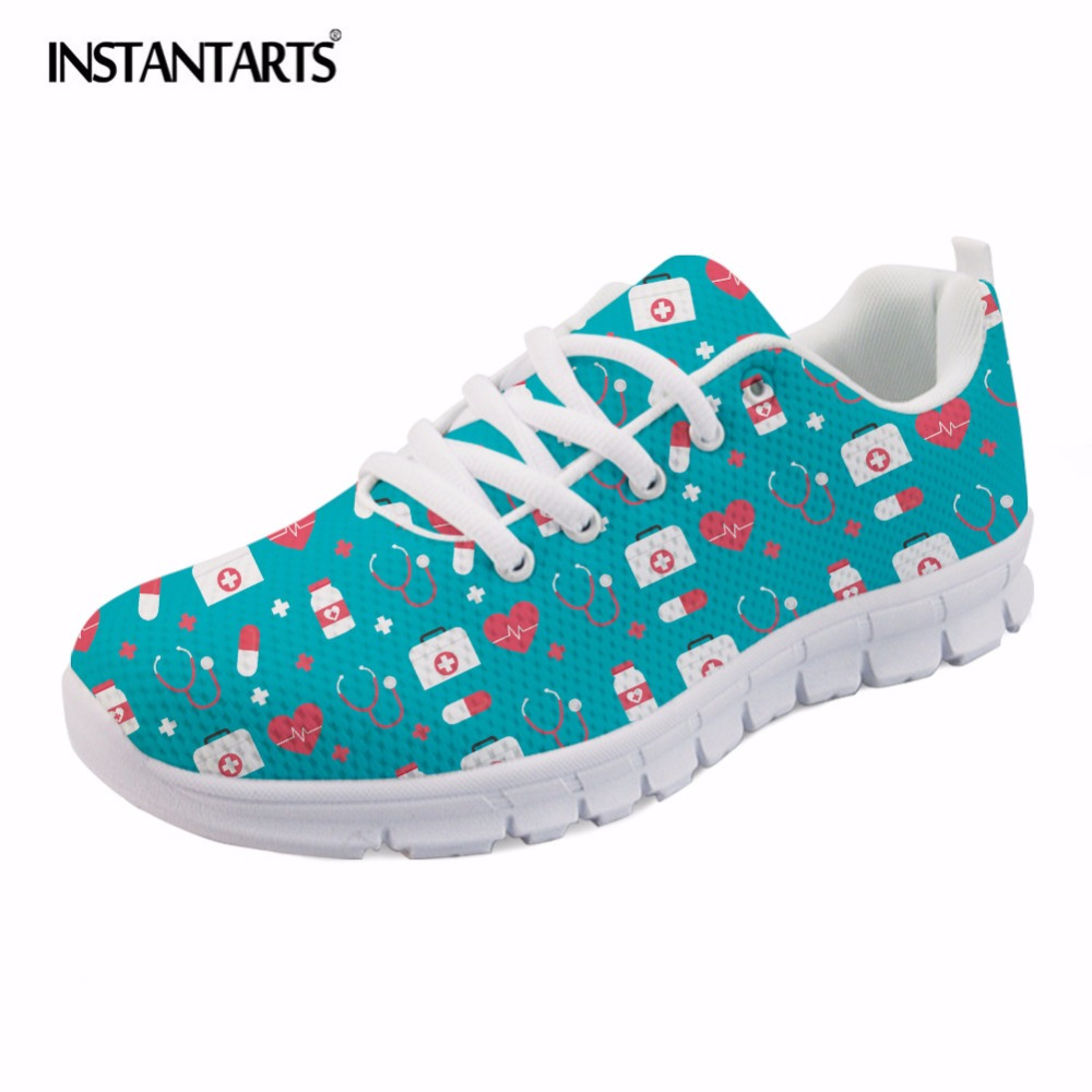 INSTANTARTS Cute Medical Nurse Sneaker Shoes Women Fashion Nursing Design Summer Mesh Flat Shoes Lightweight Lace Up Flats Lady forudesigns women casual sneaker cartoon cute nurse printed flats fashion women s summer comfortable breathable girls flat shoes