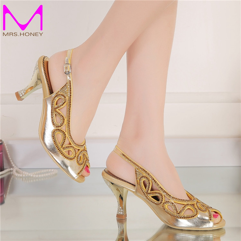 ФОТО 3 Inches Wedge Heel Summer Sandals Peep Toe Rhinestone Wedding Bridal Shoes Gold Crystal Slingback High Heel Party Prom Shoes