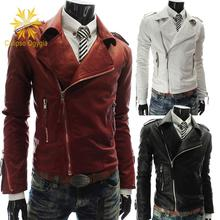 Calipso Ogygia New Mens Jackets Stylish Slim Fit Hooded Black Red White Motorcycle PU Leather Jacket Coat Outwear