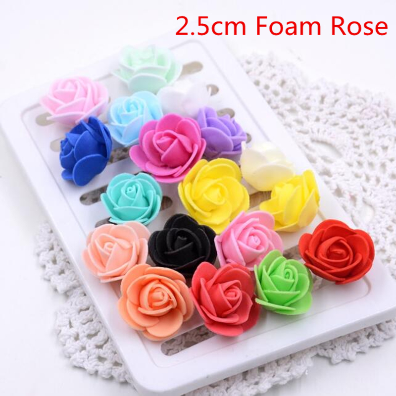 50pcs 19Colors 3cm Foam Small Foam Rose Artificial Flower Wedding Festive Decoration Handmade Pompom Box Craft Accessories Rosa