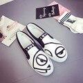 2017 печать женщины бездельники мультфильм скольжения на женщин плоское обувь повседневная zapatos mujer весна обувь для ходьбы женские аксессуары прекрасный леди квартиры