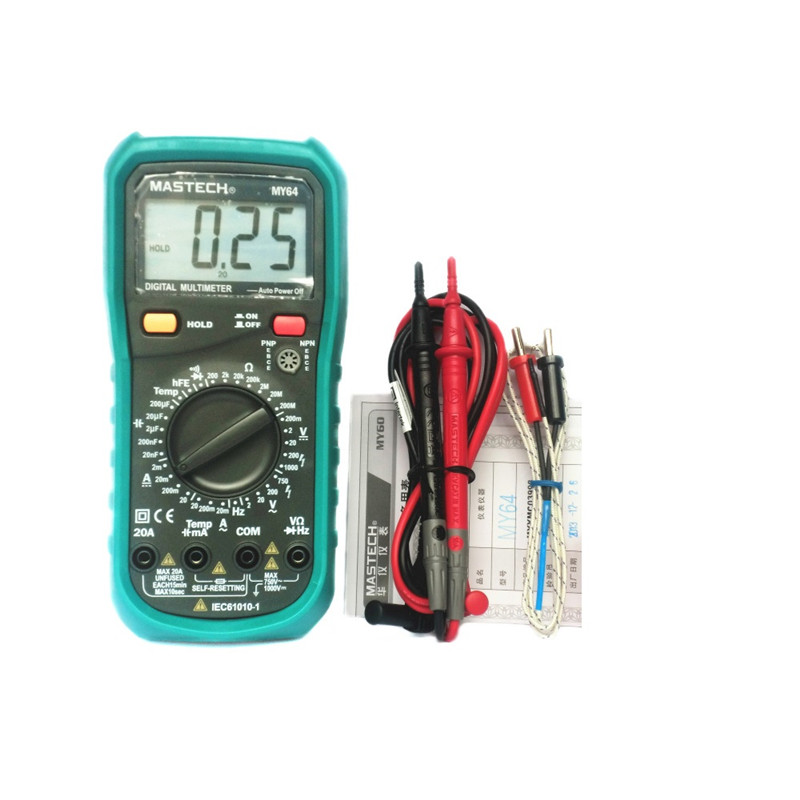 Free Shipping MASTECH MY64 Digital Multimeter AC / DC voltage and current resistance tester detector diode auto digital clamp meter mastech ms2108a pincers ac dc current voltage capacitor resistance tester aimometer multimeter amper