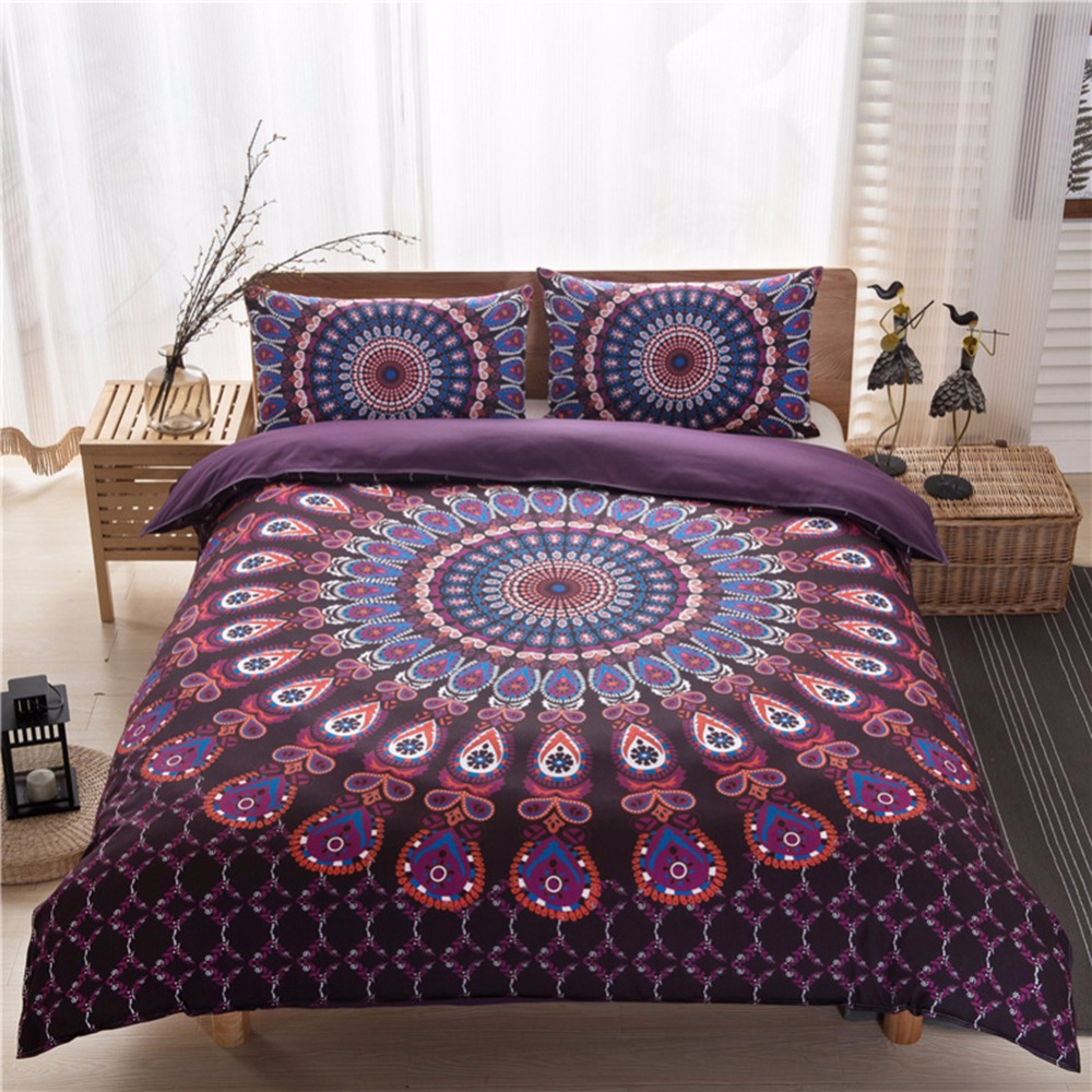 2017 New 3 Pcs Mandala Bedding Posture Million Romantic Soft Bedclothes Plain Twill Boho Bohemian Duvet Cover Set Twin Size
