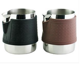 1 st 300 ml / 12 oz silikon värmeisolering inget handtag Rostfritt stål mjölkkanna / kanna skumkanna / teflon för fancy kaffebryggare