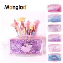 Manglad New Cartoon Mermaid Pig Flower Quicksand Oil Laser Transparent  Creative Makeup Bag Pencil Case Stationery Penci Pouch