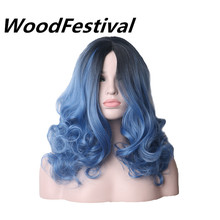 WoodFestival 20inch Women Wigs Hair Heat Resistant Black To Navy Blue Curly Synthetic Wig Cosplay цены онлайн
