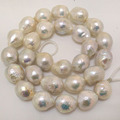 16 pulgadas 14-16mm Natural Blanco Alto Brillo Grande Edison Perla Barroca Loose Strand