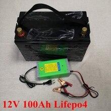 12 V 100AH Lifepo4 Batterie Waterdicht met BMS voor Golfkarretjes Kampeerders Voeding EV Solar Opslag Campers + 10A lader