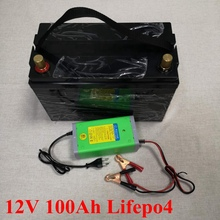 12V 100AH Lifepo4 Batterie Waterproof with BMS for Golf Carts Campers Power Supply EV Solar Storage Motorhomes + 10A Charger