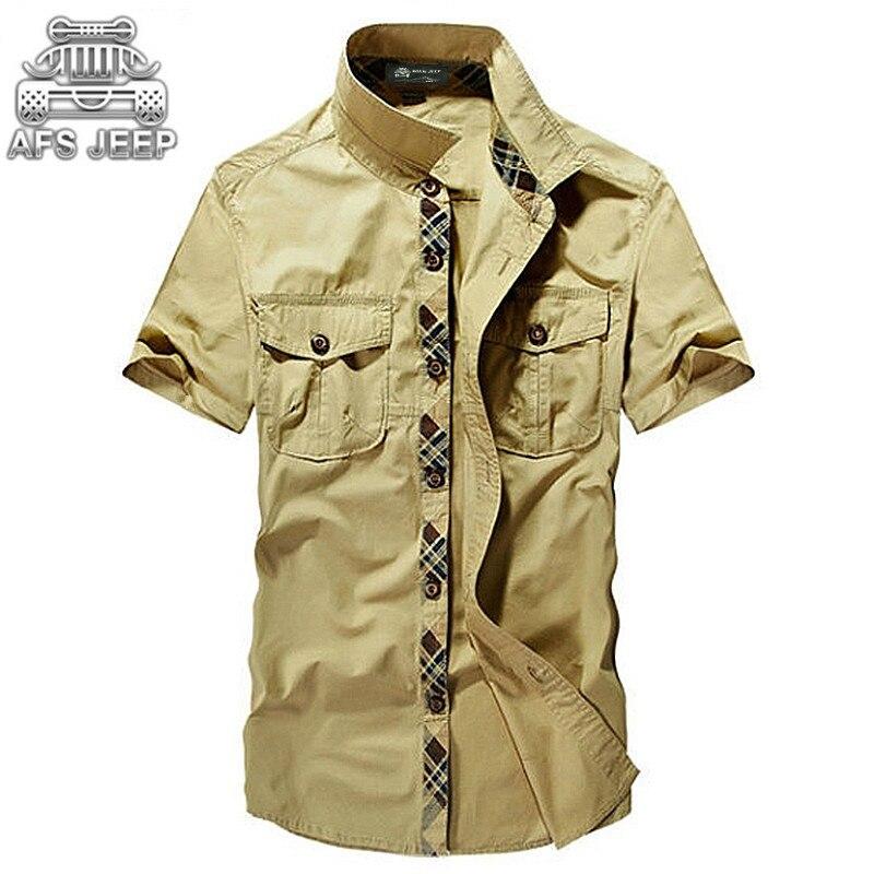 0ed08283d65f Allentato AFS JEEP Vintage Esercito Militare Camicie Da Uomo Nuovo 2018 di  Estate 100% Cotone Cargo Casual Marca Classic Traspirante Manica Corta ~  Best ...