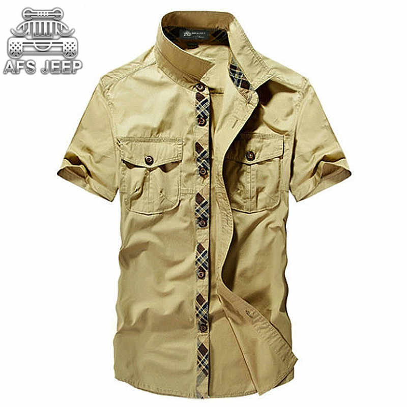 bce284718a2 Loose AFS JEEP Vintage Military Army Men Shirts New 2018 Summer 100% Cotton  Cargo Casual