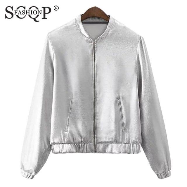 Aliexpress.com : Buy SCQP FASHION Seliver Silk O Neck Bomber ...