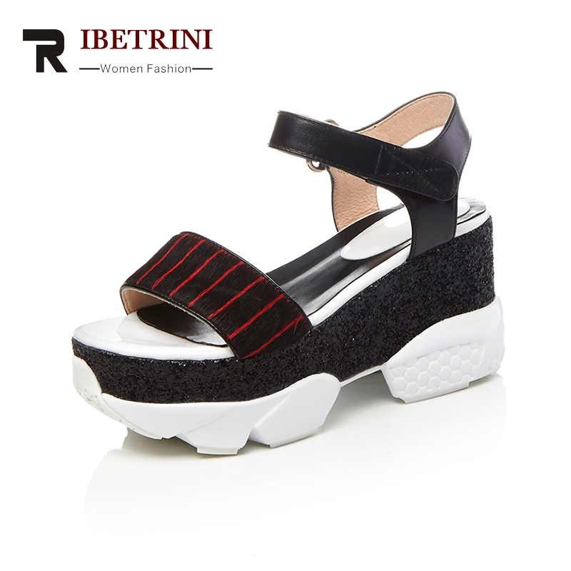 RIBETRINI New 2018 Brand Sandal  Women Fashion Genuine Leather Sandals Women Leisure Wedge High Heels Platform Woman Shoes woman fashion high heels sandals women genuine leather buckle summer shoes brand new wedges casual platform sandal gold silver