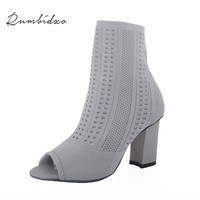 Rumbidzo Women Boots 2017 New Fashion Woman Summer Winter Boots Peep Toe Thick Heel High Heel
