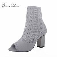 Rumbidzo Women Boots 2017 New Fashion Woman Summer Winter Boots Peep Toe Thick Heel High Heel