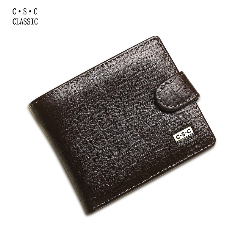 Bifold Wallet Genuine-Leather Authentic Coin-Purse Brown Real-Cowhide Men Package Credit-Card