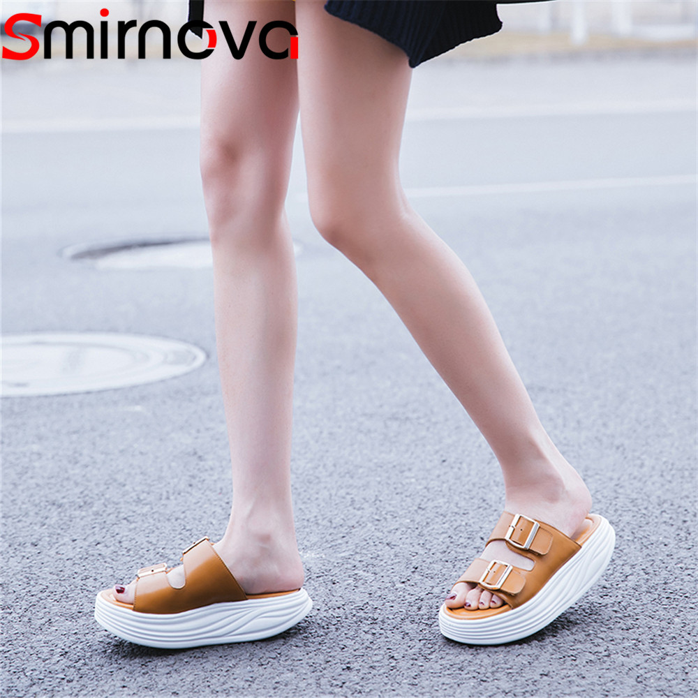 Smirnova fashion comfortable 2018 summer new shoes woman flat platform casual sandals women buckle genuine leather shoes free shipping fashion summer 2017 new women shoes casual genuine leather flat shoes breathable soft comfortable