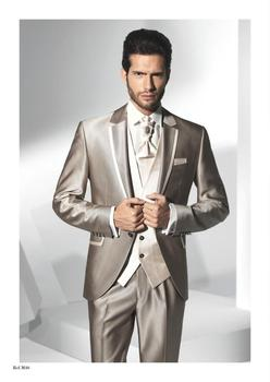 Custom Made Groom Tuxedos Notch Lapel Groomsmens/Best Man Suit Shiny Champagne Wedding/Prom/Dinner Suits (Jacket+Pants+Tie+Vest)