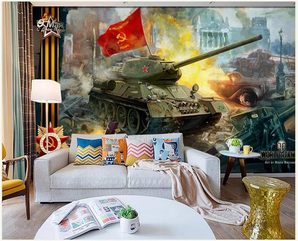 custom 3d photo wallpaper living room mural Soviet-style tanks retro nost painting TV background non-woven wallpaper for wall 3d custom modern 3d photo high quality non woven wallpaper wall murals 3d wallpaper tv sofa background wallpaper for living room