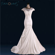 Mermaid Satin lace Wedding Dresses Cap Sleeves Ruffles Bridal Gowns 2017 Vestido de Novia Robe de mariage wedding gowns