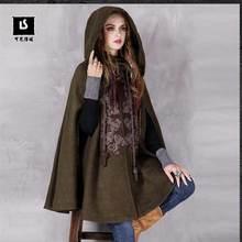 2016 Winter Vintage Embroidery Hooded Thicken Warm Lady Woolen Outerwear Coat High-end Women Cape Shoulder Sleeve Cloak Parka