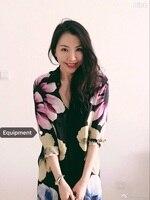EQ 100 Silk Flower Print Elegant Women Long Sleeve Long Shirt Lady Silk Blouses Dress