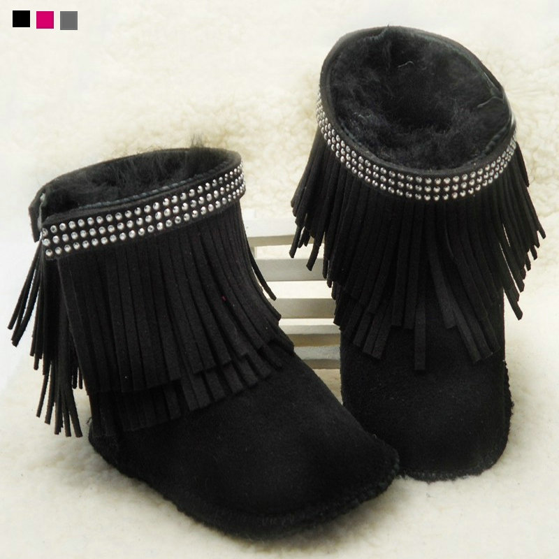crystal Baby boots wool Brand fur Warm Winter fringe baby Snow Boots Toddler Shoes first walker moccasins