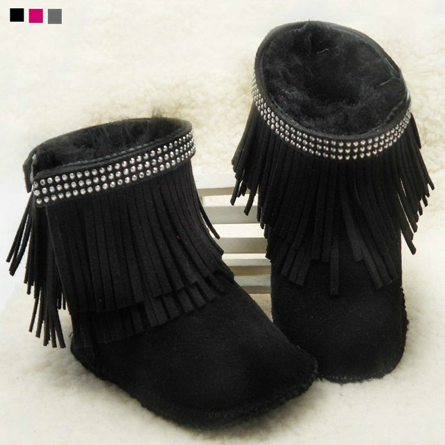 New crystal Baby boots wool Brand fur Warm Winter fringe baby Snow Boots Toddler Shoes first walker baby moccasins