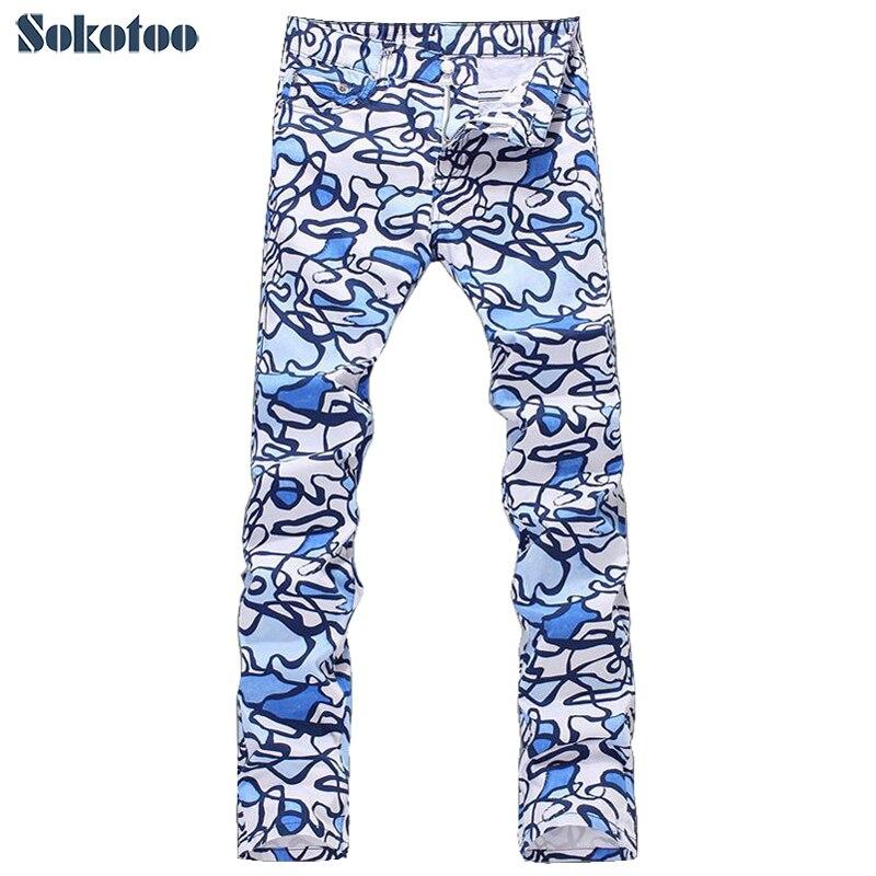 Sokotoo Для мужчин новый тонкий каракули печати джинсы мужские повседневные эластичные тонкие джинсовые прямые брюки длинные брюки Бесплатна...