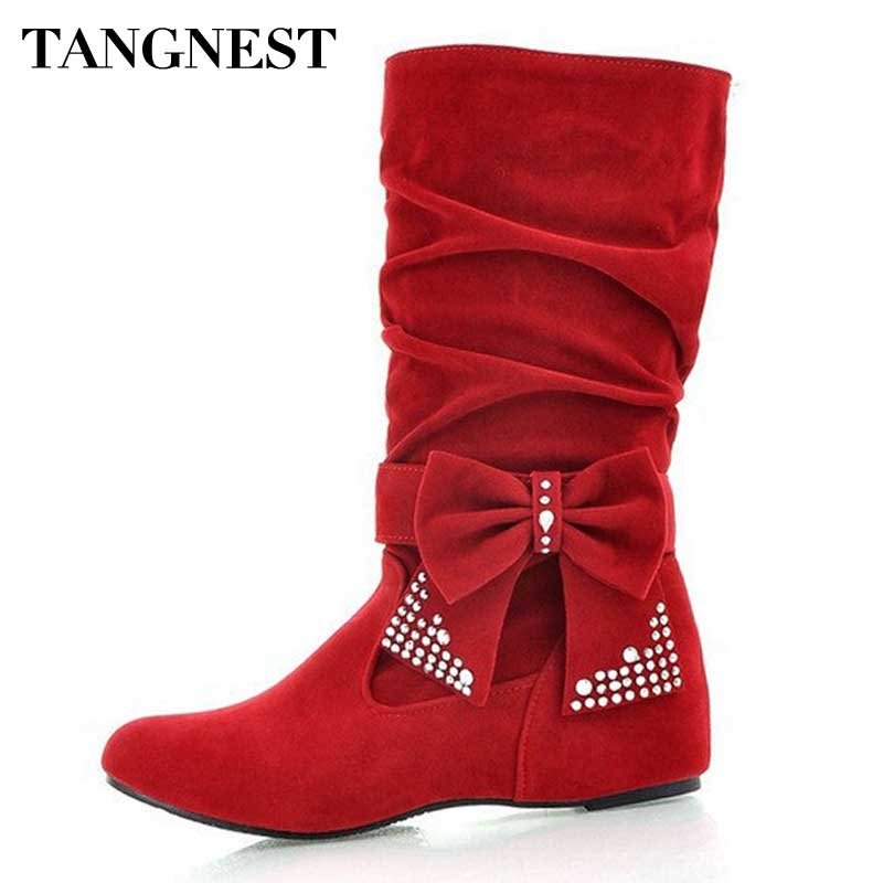 Tangnest Women Boots Fashion Solid Bowtie Height Increasing Boot Silp On Mid-Calf Winter Boot zapatos mujer Plus Size 35-43 Z184