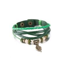 High Grade Red Hemp Rope Wrap Cute Women Bracelets Round Beads Leave Bracelet Cow Leather Strap Wristband bayan bileklik
