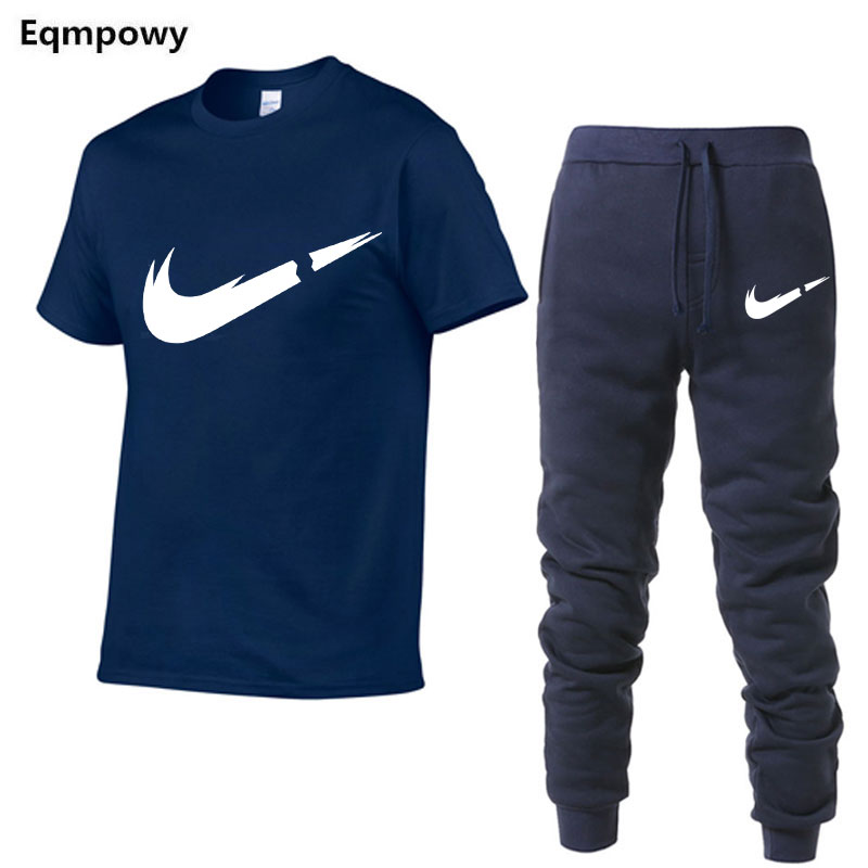 HTB13LuPNYPpK1RjSZFFq6y5PpXaO 2019 Summer New Men's T shirt Tracksuit Casual Suits gym Clothing Man Sets Tops+Pants Male sweatshirt Men Brand T Shirt Set