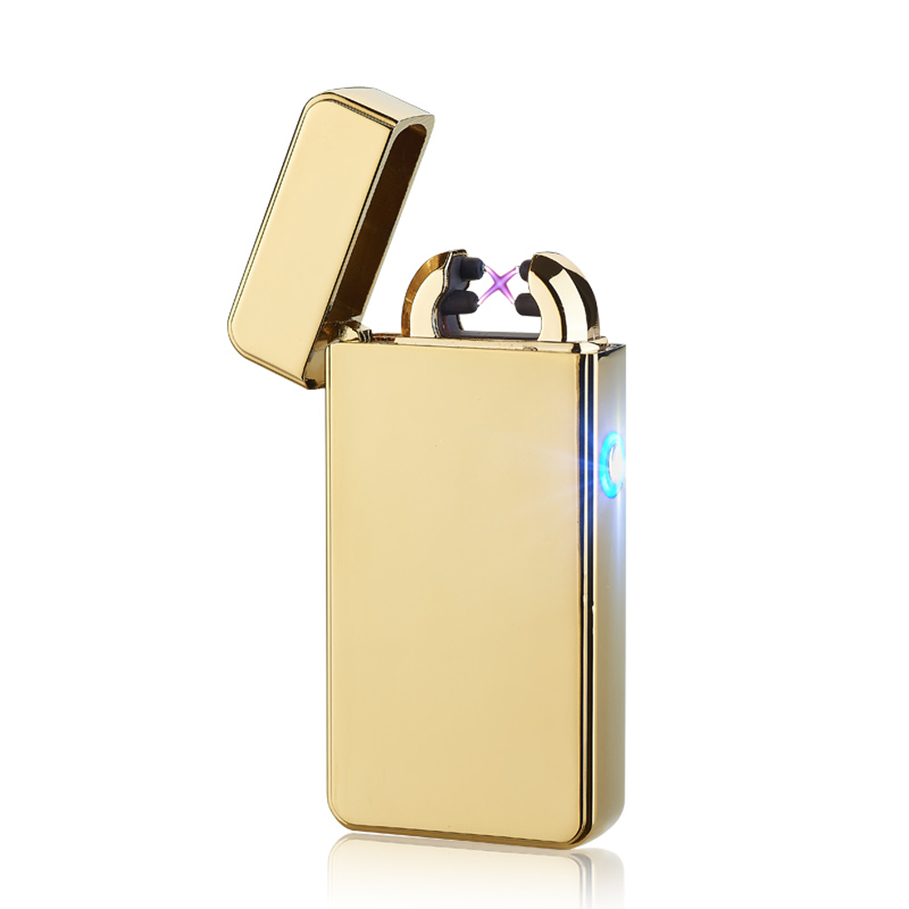 Metal Windproof Cigarette Lighter Electric Pulse Double Arc Lighter Electric Plasma USB Charging Cigar Smoking Lighter For Man
