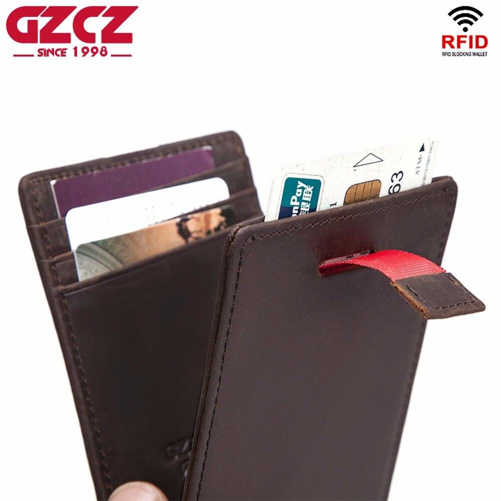 GZCZ Mens Wallet slim Front Pocket RFID Blocking Card Holder Minimalist Mini Bifold wallet