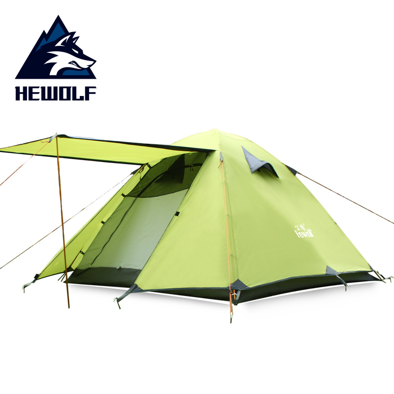Hewolf 200x180x120cm Double Gate Outdoor Tents Waterproof Hiking Self Driving Picnic Sun Shelter 3 4 Person Family Camping Tent