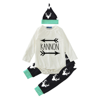 Autumn Infant Baby Clothing Set 2017 Fashion Letter Arrow Romper Reindeer Pants Hat 3pcs Girl Boy