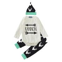 Autumn Infant Baby Clothing Set 2017 Fashion Letter Arrow Romper Reindeer Pants Hat 3pcs Girl Boy