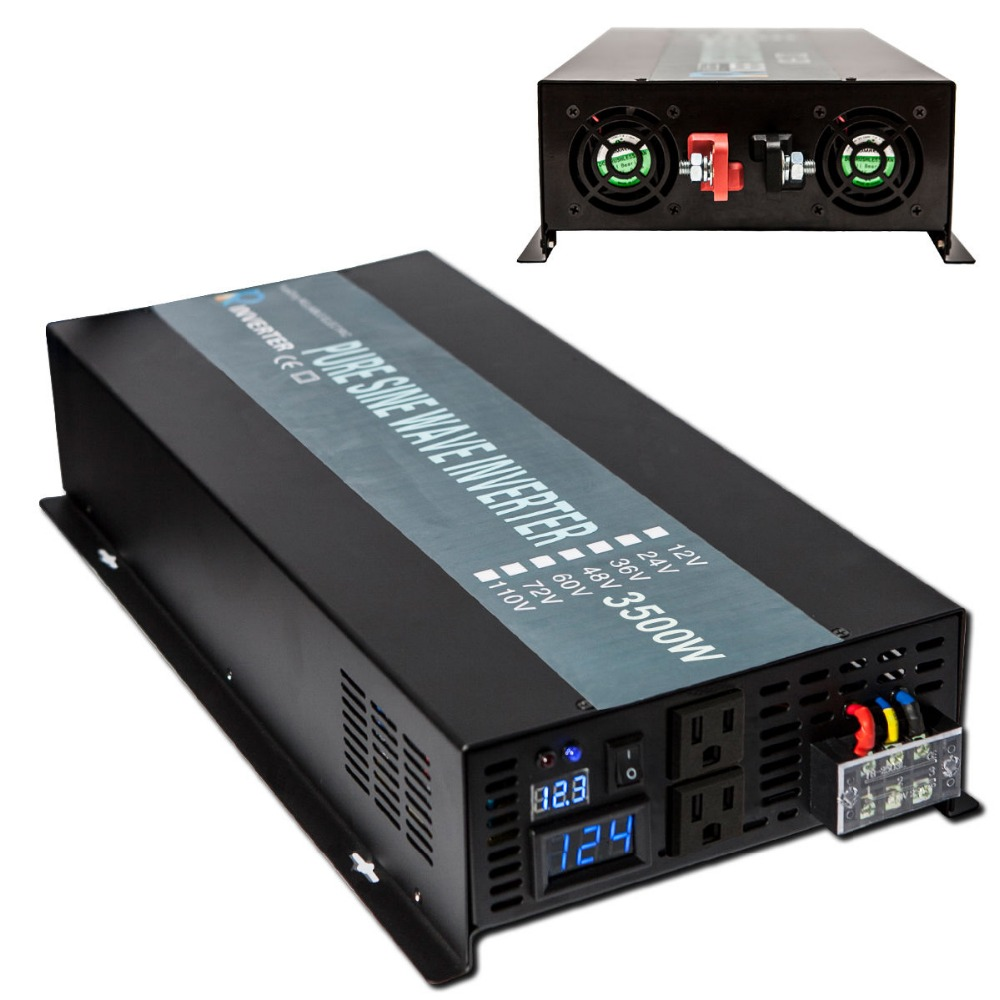 3500W Solar Inverter 24V 220V Pure Sine Wave Power Inverter Voltage Converter 12V 24V 48V DC to 120V 220V 240V AC Remote Control