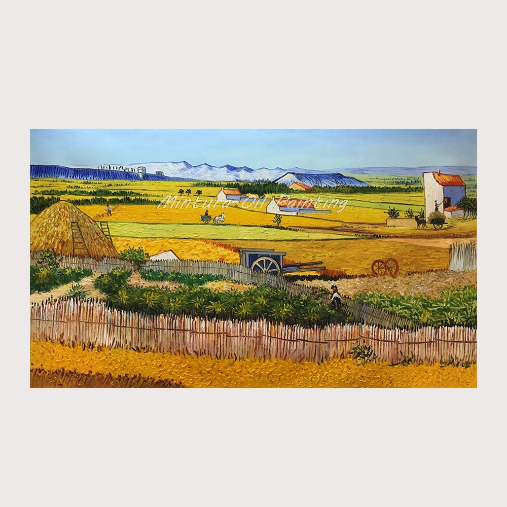 Handmade The Harvest Wheatfields Reproduction Vincent Van Gogh Oil Painting On Canvas For Home Decor World