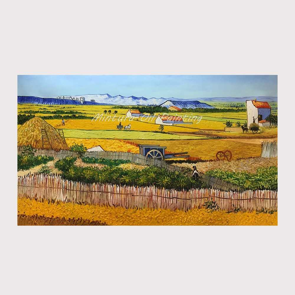 Handmade The Harvest (Wheatfields) Reproduction Vincent Van Gogh Oil Painting On Canvas For Home Decor World Famous Paintings