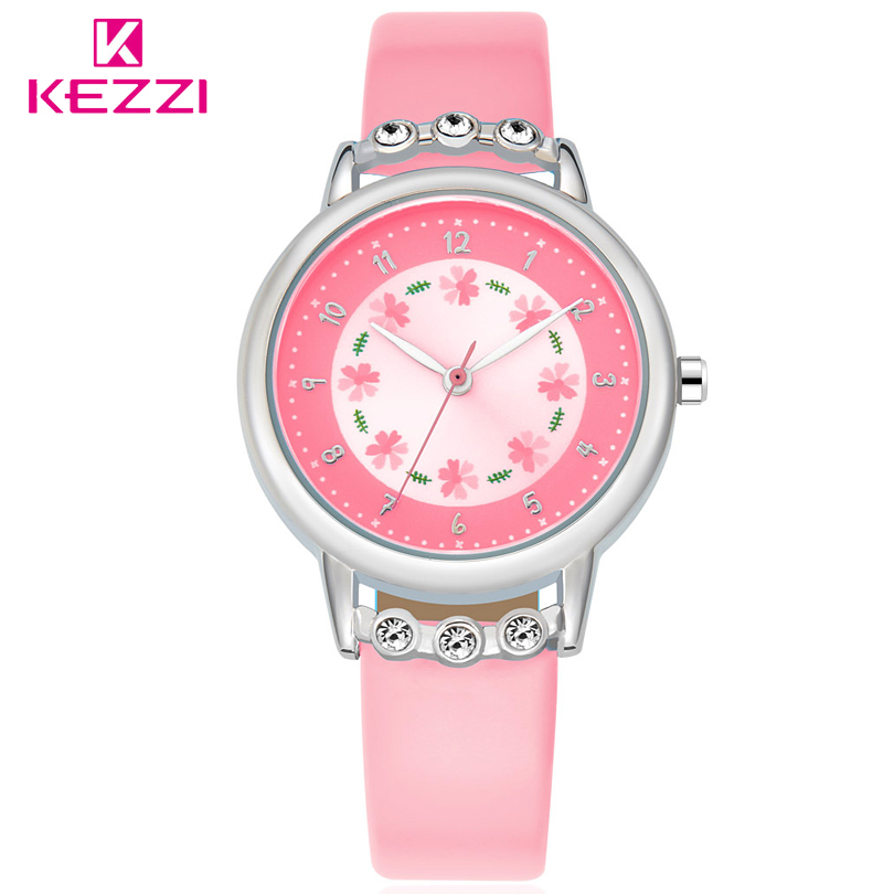 KEZZI Brand Lovely Children Rhinestone Flower Wristwatch Girl Gift Analog Watch Leather Strap Student Cartoon Quartz