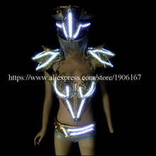 2015 Newest Led Illuminate Women Dance DS Costume Led Light Growing Stage Clothes Sexy Lady Crystal Evening Dress Dance Wear