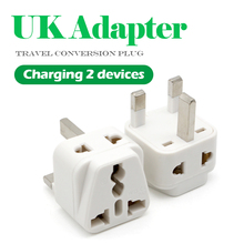 1PC Universal EU US AU to UK 3 Pin AC Power Socket Plug Travel Wall Charger Outlet Adapter Converter Connector UK plug White
