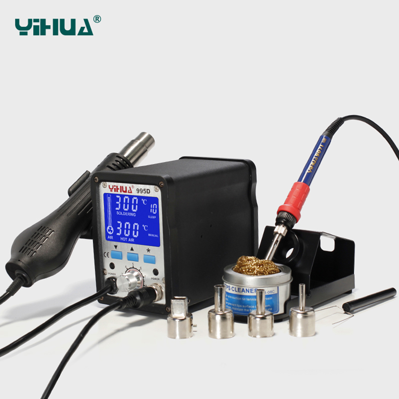 YIHUA 995D Soldering Station Hot Air Gun Soldering Iron Motherboard Desoldering Welding Repair 2In1BGA Rewoke solder iron EU US yihua soldering station 995d hot air gun soldering iron motherboard desoldering welding repair 110v 220v 2 in 1 electric iron