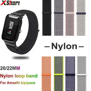 Para Amazfit Bip S Correa banda de Nylon para Xiaomi Amazfit bip ritmo, 20mm, 22mm, lazo correa de reloj de pulsera accesorios de la pulsera