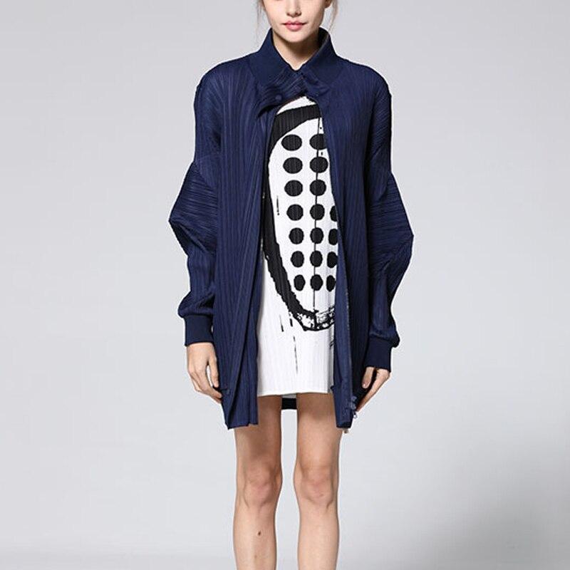 Printemps Nouvelles Taille Manteaux Design Marée Royal Base Lâche bleu Plissée Manteau Miyak Changpleat De Fermeture Grande Veste Mode Femmes Éclair 2019 Noir Solide 56q0wng