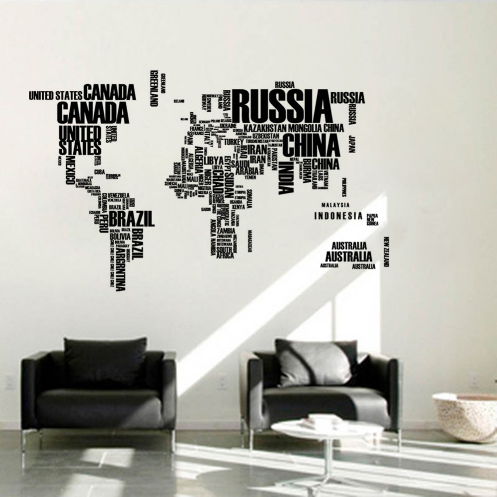 English word world map large black removable wall decals for Decoration autocollant mural
