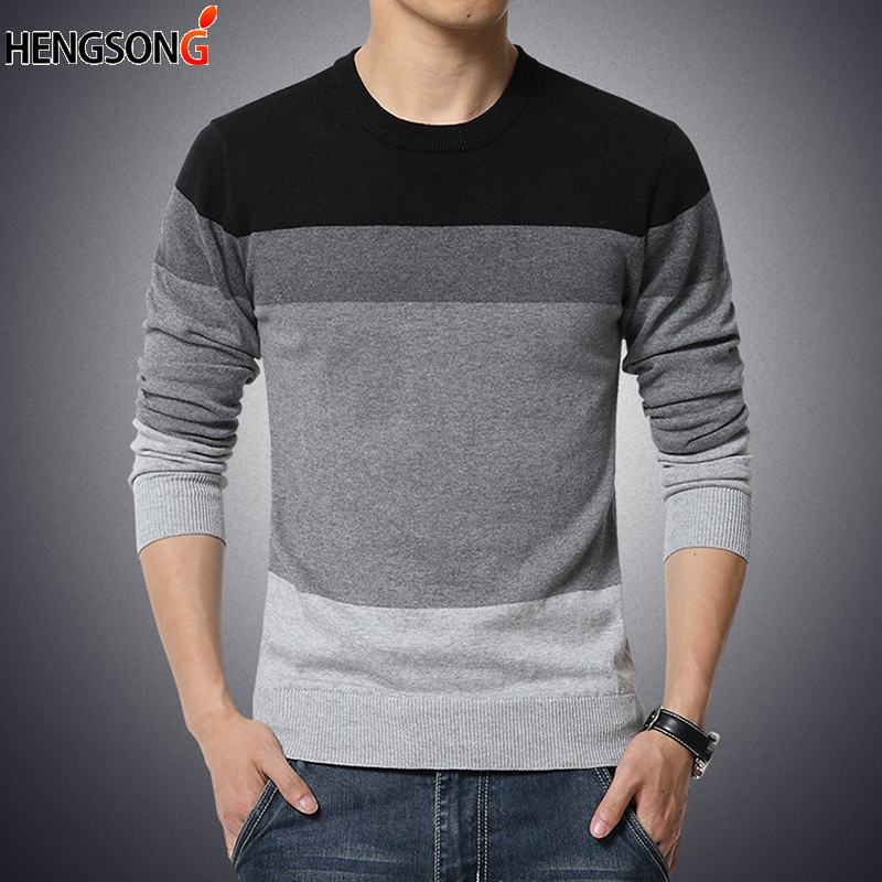 New Men Casual Pullover Autumn Sweater Men O Neck Patchwork Long Sleeve Knitted Brand Male Sweaters Plus Size M-3XL