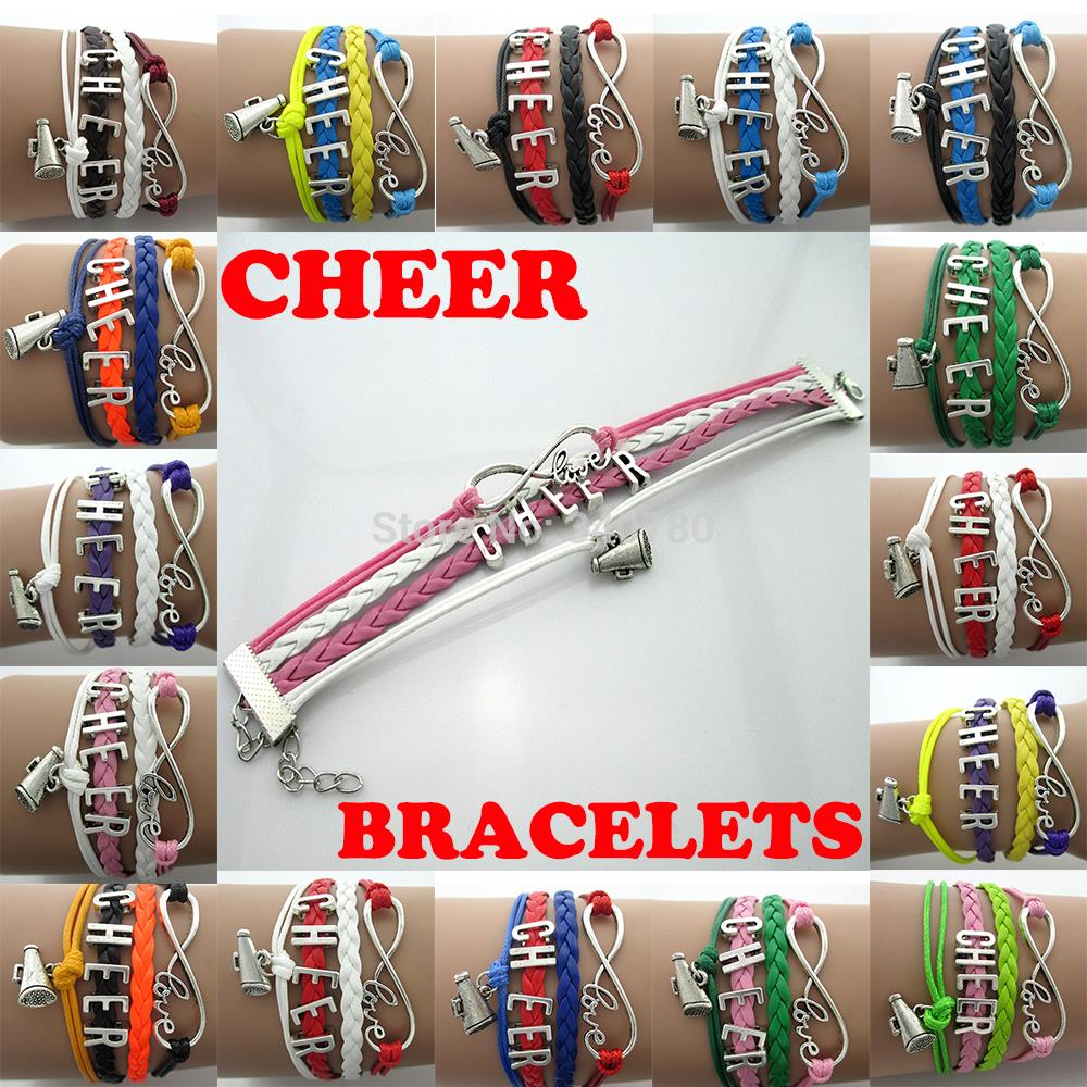 <font><b>CHEER</b></font> letters,beer <font><b>Cup</b></font>,big infinity with love Charms,antique silver plated metal bracelets multilayers Handmade For <font><b>cheers</b></font> 10pcs