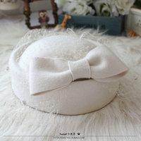 Paris Elegant Ladies Top Fedora Cap White Red Black Pure Wool Fedora Classic Bowler Veil Women Hat Church Party Beret Hat